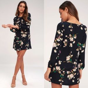 Herbaceous Babe Navy Floral Print Shift Dress